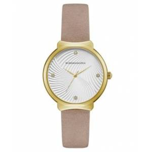 Bcbgmaxazria Ladies Beige Leather Strap Watch with White Wave Textured Dial, 32mm  - No Color