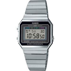 Casio Unisex Digital Stainless Steel Bracelet Watch 35.5mm  - Silver