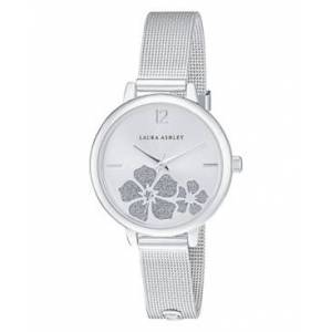 Laura Ashley Women's Sunray Floral Stone Dial Silver Tone Alloy Bracelet Watch 34mm  - Silver