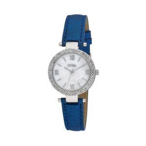 Bob Mackie Women's Blue Polyurethane Strap Glitz Mop Dial Watch, 30mm  - Blue