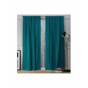 "Exclusive Home Nicole Miller Mellow Slub Textured Hidden Tab Top 54"" X 96"" Curtain Panel Pair  - Blue"