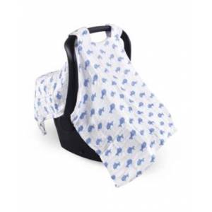 Hudson Baby Unisex Baby Muslin Cotton Car Seat Canopy, One Size  - Blue Whale