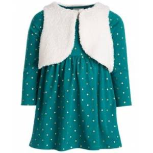 First Impressions Baby Girls Vest Dress Set, Created for Macy's  - Jungle Green