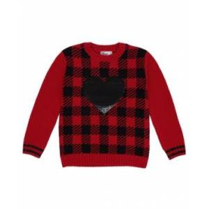 Epic Threads Little Girls Sequined Heart Long Sleeve Sweater  - Red
