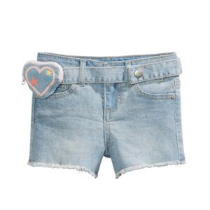 Epic Threads Little Girls Denim Shorts with Heart Belt Bag  - Chelsea Wash