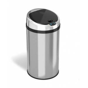Halo 8 Gallon Round Sensor Trash Can with Deodorizer, Stainless Steel  - Silver