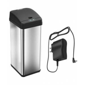 Halo 13 Gal Stainless Steel Sensor Trash Can with Deodorizer & Ac Adapter  - Silver