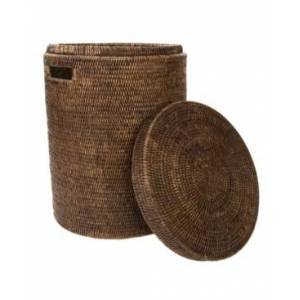 Artifacts Trading Company Artifacts Rattan Round Hamper with Lid and Cloth Liner  - Coffee Bean