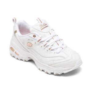 Skechers Women's D'Lites - Fresh Start Walking Sneakers from Finish Line  - White, Rose Gold