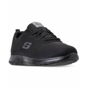 Skechers Women's Work Relaxed Fit: Ghenter - Bronaugh Slip Resistant Athletic Work Sneakers from Finish Line  - BLACK