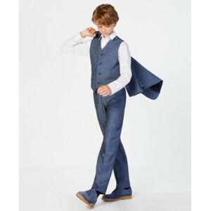 Calvin Klein Big Boys Plain Weave Suit Pants  - Medium Blue