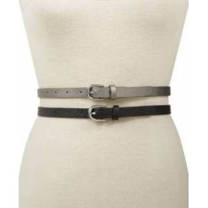 Inc International Concepts 2-for-1 Solid Belts, Created for Macy's  - Pewter/Silver