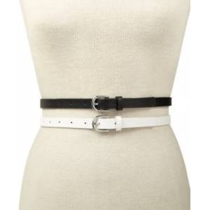 Inc International Concepts 2-for-1 Solid Belts, Created for Macy's  - White/Silver