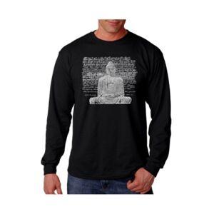 La Pop Art Men's Word Art Long Sleeve T-Shirt - Zen Buddha  - Black