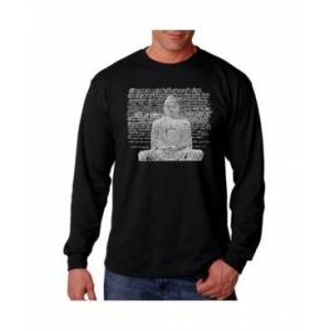 La Pop Art Men's Word Art Long Sleeve T-Shirt - Zen Buddha  - Black