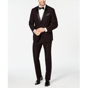 Perry Ellis Men's Slim-Fit Stretch Wrinkle-Resistant Burgundy Textured Tuxedo  - Burgundy