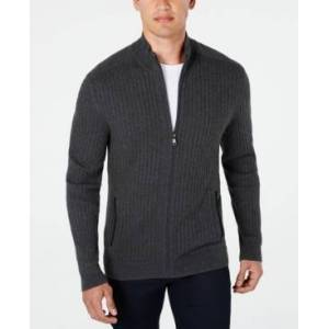 Alfani Men's Ribbed Full-Zip Sweater, Classic Fit, Created for Macy's  - Neo Navy