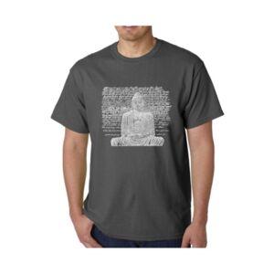 La Pop Art Men's Word Art T-Shirt - Zen Buddha  - Gray