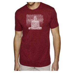 La Pop Art Men's Premium Word Art T-Shirt - Zen Buddha  - Burgundy