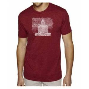 La Pop Art Men's Premium Word Art T-Shirt - Zen Buddha  - Burgundy