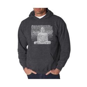 La Pop Art Men's Word Art Hooded Sweatshirt - Zen Buddha  - Dark Gray