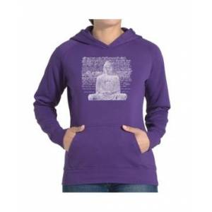 La Pop Art Women's Word Art Hooded Sweatshirt - Zen Buddha  - Purple