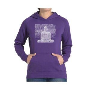 La Pop Art Women's Word Art Hooded Sweatshirt - Zen Buddha  - Purple