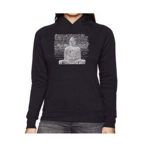 La Pop Art Women's Word Art Hooded Sweatshirt - Zen Buddha  - Black