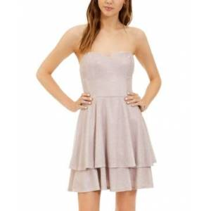 B Darlin Juniors' Glitter-Knit Strapless Fit & Flare Dress  - Pink Silver