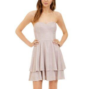 B Darlin Juniors' Glitter-Knit Strapless Fit & Flare Dress  - Pink Silver