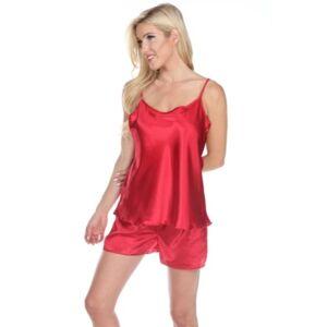 White Mark Satin Cami and Shorts Pajama Set  - Red