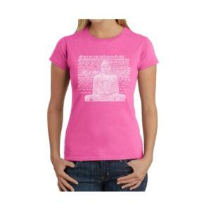 La Pop Art Women's Word Art T-Shirt - Zen Buddha  - Pink