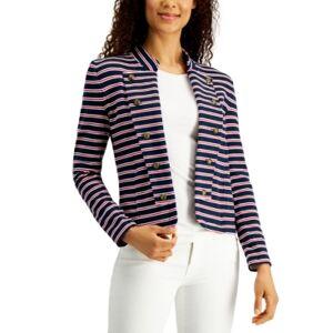 Tommy Hilfiger Striped Band-Collar Jacket  - Sky Captain Multi