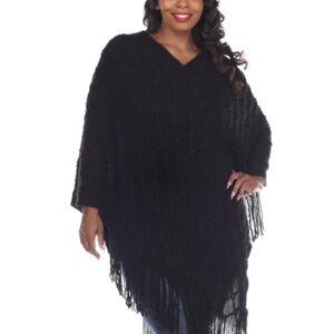 White Mark Women's Plus Size Frostine Poncho  - Black