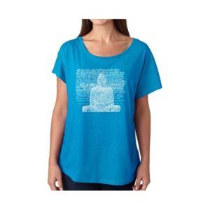 La Pop Art Women's Dolman Cut Word Art Shirt - Zen Buddha  - Turquoise