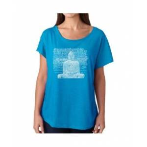 La Pop Art Women's Dolman Cut Word Art Shirt - Zen Buddha  - Turquoise