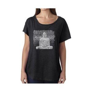 La Pop Art Women's Dolman Cut Word Art Shirt - Zen Buddha  - Black