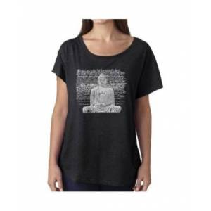 La Pop Art Women's Dolman Cut Word Art Shirt - Zen Buddha  - Black