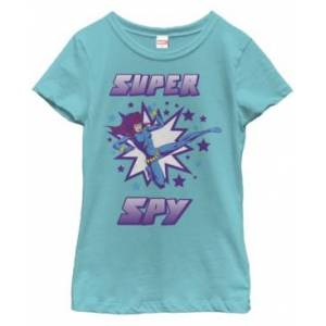 Sun Fifth Sun Marvel Big Girl's Black Widow Retro Super Spy Short Sleeve T-Shirt  - Tahiti Blue