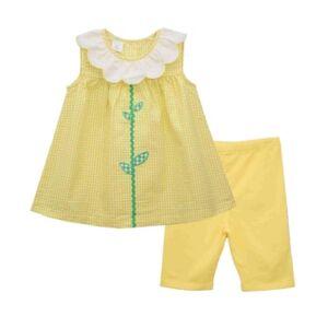 Bonnie Jean Little Girls Check Seersucker Top and Knit Bike Short Set, 2 Piece  - Yellow