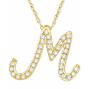 "Macy's Diamond Initial Pendant Necklace (1/10 ct. t.w.) in 14k Gold Over Sterling Silver, 16"" + 2"" Extender  - M"