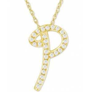 """Macy's Diamond Initial Pendant Necklace (1/10 ct. t.w.) in 14k Gold Over Sterling Silver, 16"""" + 2"""" Extender  - P"""