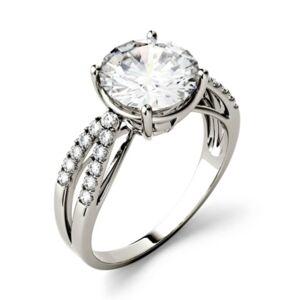 Charles & Colvard Moissanite Split Shank Ring 2-9/10 ct. t.w. Diamond Equivalent in 14k White Gold or 14k Yellow Gold  - White Gold