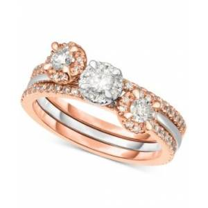 Macy's 3-Pc. Set Diamond Stack Rings (3/4 ct. t.w.) in 14k White Gold & Rose Gold  - White Gold