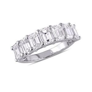 Macy's Emerald-Cut Certified Diamond (3 1/3 ct. t.w.) Semi-Eternity Anniversary Band in 18k White Gold  - White