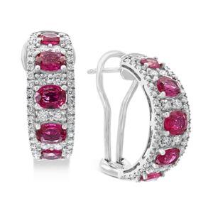 Effy Collection Effy Certified Ruby (3-1/2 ct. t.w.) & Diamond (1-1/4 ct. t.w.) Hoop Earrings in 14k White Gold  - Ruby