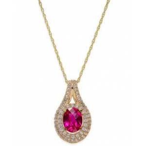 Macy's Lab-Created Ruby (2 ct. t.w.) and White Sapphire (3/4 ct. t.w.) Pendant Necklace in 14k Gold-Plated Sterling Silver  - Red