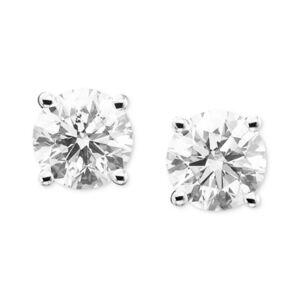 Macy's Certified Diamond Stud Earrings (2 ct. t.w.) in 14k Gold or White Gold  - White Gold
