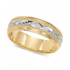 Macy's Two-Tone Decorative Beaded Edge Wedding Band in 14k Gold & White Gold  - Yellow/White Gold