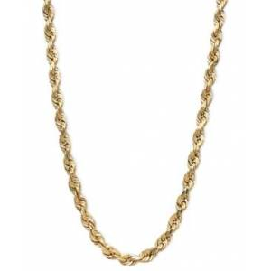 """Macy's 14k Gold Necklace, 20"""" Diamond Cut Rope Chain (3mm)"""
